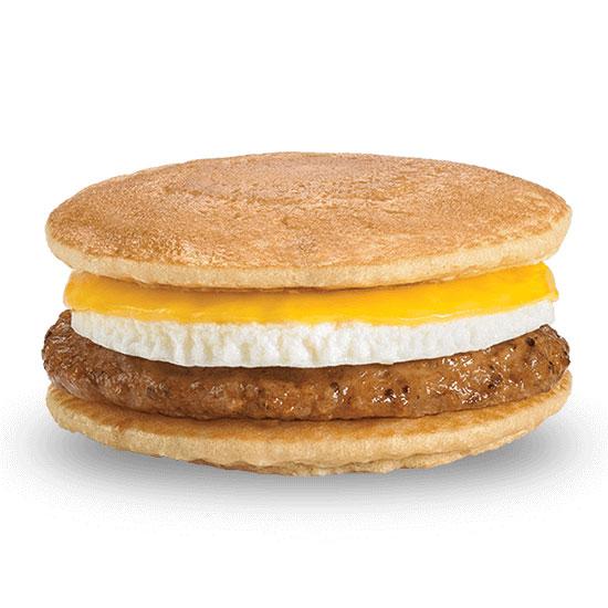 Sausage, Egg & Cheese between Pancakes