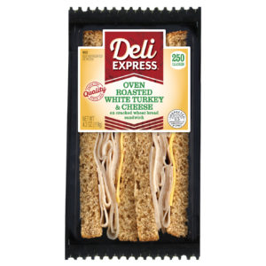 Deli Express Oven Roasted White Turkey and Cheese Wedge Sandwich in package